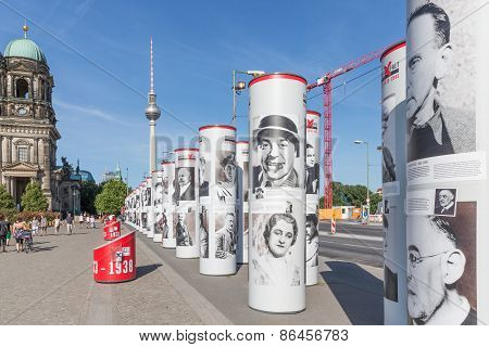 Street Art With Historic Famous German People Downtown At Berlin, Germany