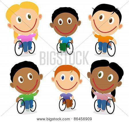 Wheelchair Children Character Vector Pack