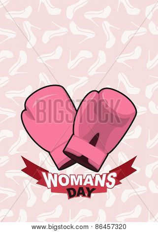 8 March, International Women's Day. Pink boxing gloves