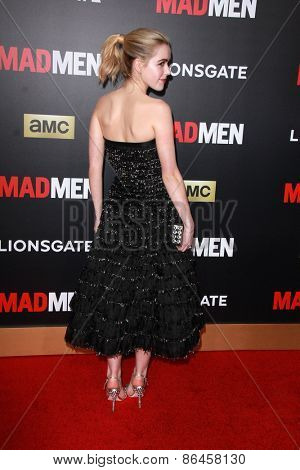LOS ANGELES - MAR 25:  Kiernan Shipka at the Mad Men Black & Red Gala at the Dorthy Chandler Pavillion on March 25, 2015 in Los Angeles, CA