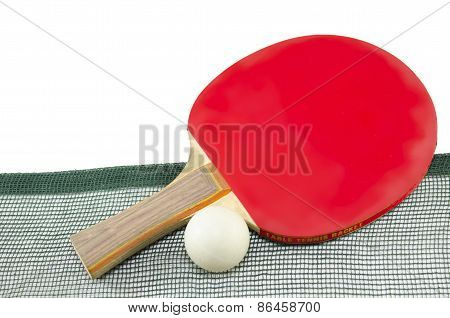 Red Table Tennis Racket And A Net Isolated