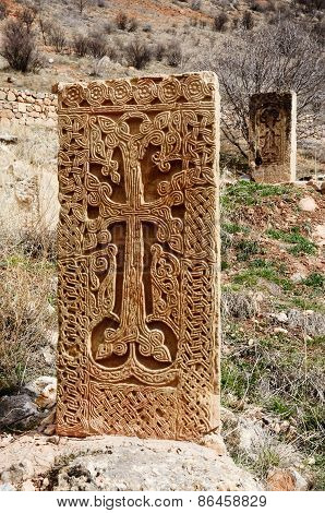 Medieval Khachkars Of Noravank Monastery,traditional Christian Art In Armenia, Central Asia, Unesco