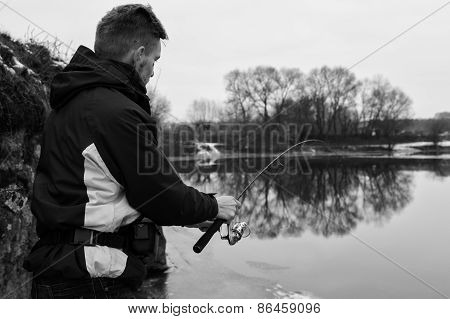 Winter spinning. Fishing in winter.