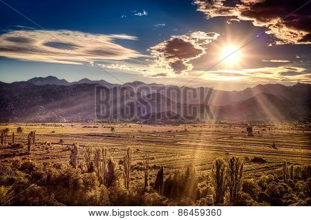 Beautiful Sunset Over The Fertile Plains In Southern Croatia