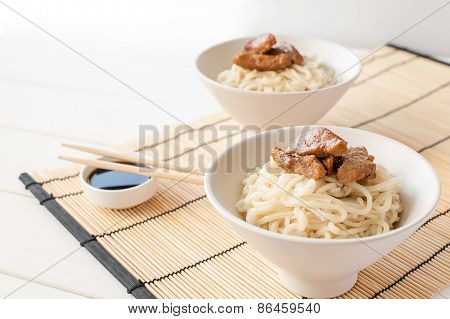 Egg noodles with teriyaki meat