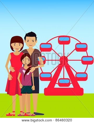 Family in the amusement park. Mother, father and daughter. Vector illustration