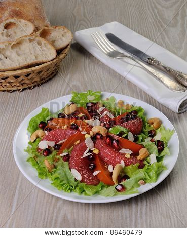 Salad Of Lettuce With Fruits And Nuts