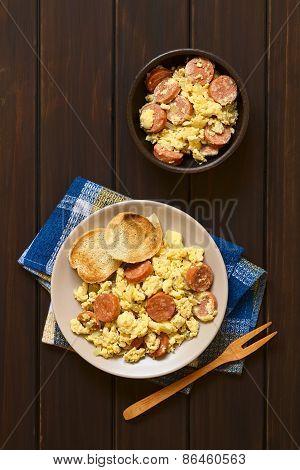 Scrambled Egg with Chorizo and Onion