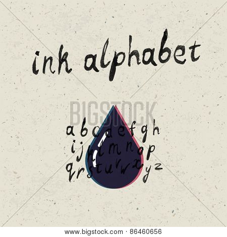 Ink hand-drawn alphabet and paper texture set.