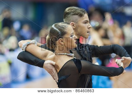Minsk, Belarus-february 14,2015: Professional Dance Couple Of Shmidt Danila And Alina Gumenyuk Perfo