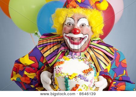 Birthday Clown With Blank Cake