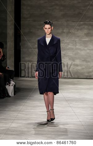 NEW YORK - FEBRUARY 18: A model walks the runway at the Bibhu Mohapatra Fall/Winter 2015 collection during Mercedes-Benz Fashion Week in New York on February 18, 2015.