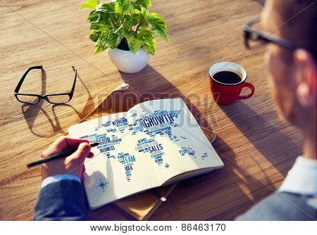 Businessman Planning Global Business Notepad Success Growth Concept