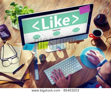Digital Online Social Media Networking Like Office Concept