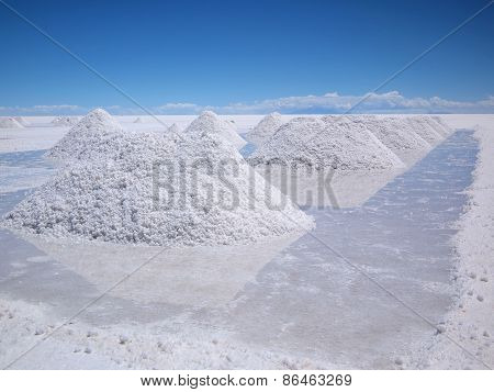 Drying Salt Piles On The Salar De Uyuni