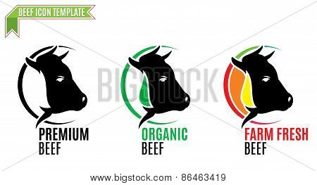 Beef Label, Trade Sign, Icon Template