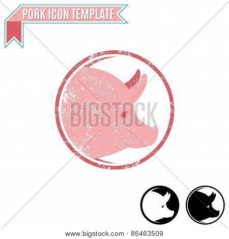 Pork Label, Trade Sign, Icon Template