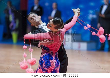 Minsk, Belarus-february 14, 2015: Professional Dance Couple Of Korostashov Denys And Kostyleva Natal