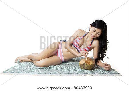 Full Length Beautiful Woman On Mat