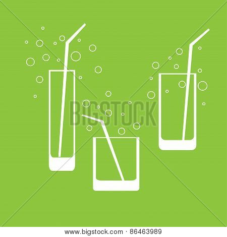 White Silhouette Of Glass, Carved On  Color Background