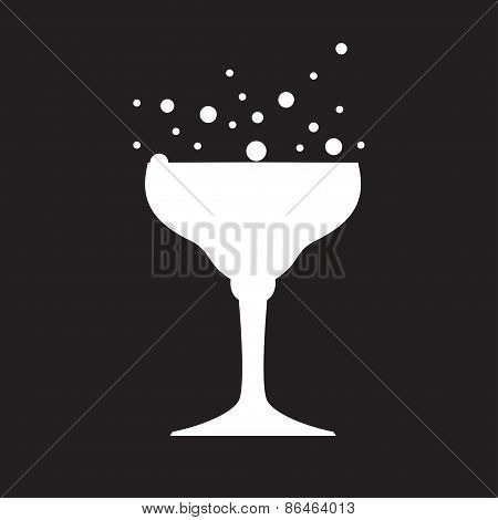 White Silhouette Of Glass, Carved On Black Background