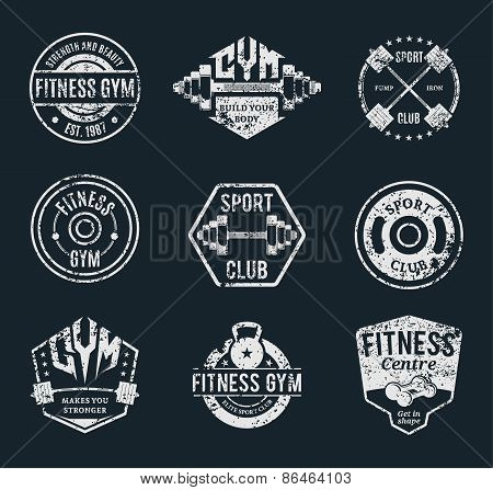 Grungy Gym and Fitness Label Templates and Athletic Badges