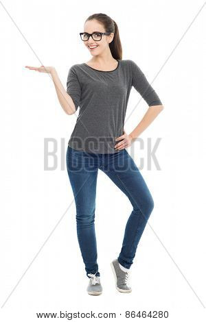 Attractive woman gesturing