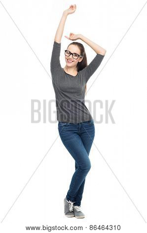 Woman with arms raised