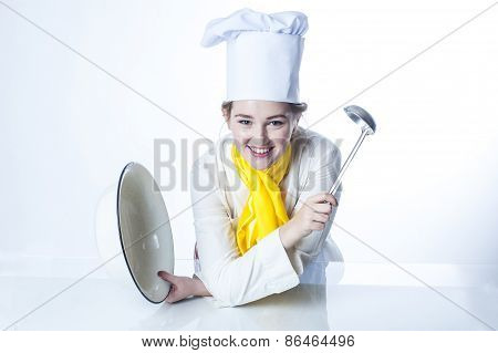 Cook With Big Bowl And Pan