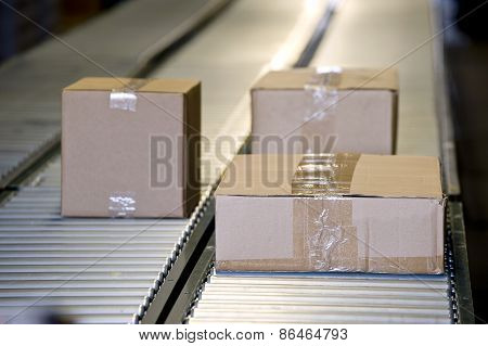 Shipping Boxes On Conveyor Belt