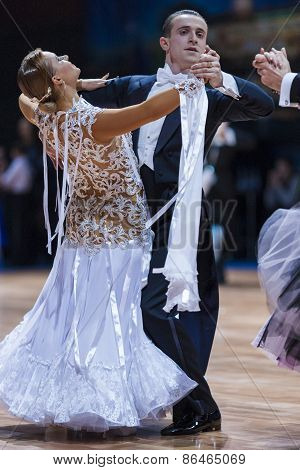 Minsk, Belarus-february 14, 2015: Professional Dance Couple Of Karnas Taras And Karnas Iuliia From I