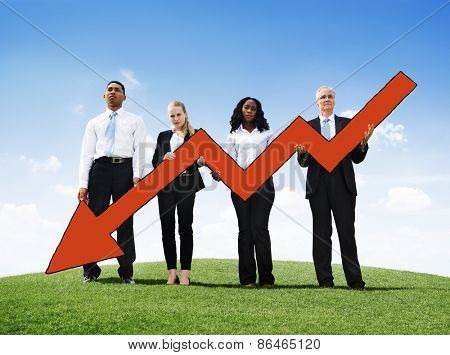 Angry Business Man Outdoors Holding Declining Line Graph Concept