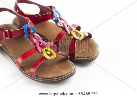Pair Of Colorful Female Sandals