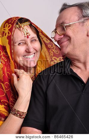 Indian Senior Couple Looking At Each Other