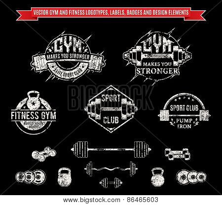 Vector Grungy Gym and Fitness Labels, Badges and Design Elements