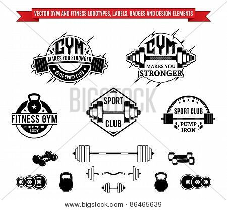 Vector Gym and Fitness Labels, Badges and Design Elements