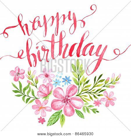 Happy Birthday Hand-drawn card. Vector illustration