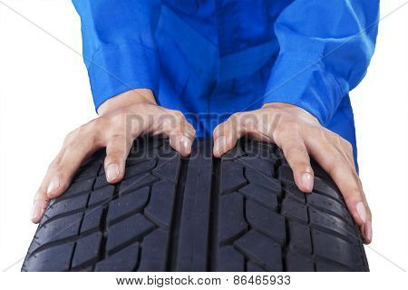 Mechanic Hands With Textured Tire
