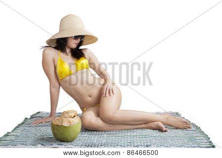 Sexy Model Posing On Mat