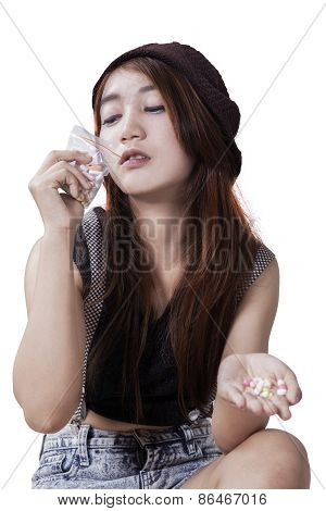 Teenage Girl With Illegal Drugs