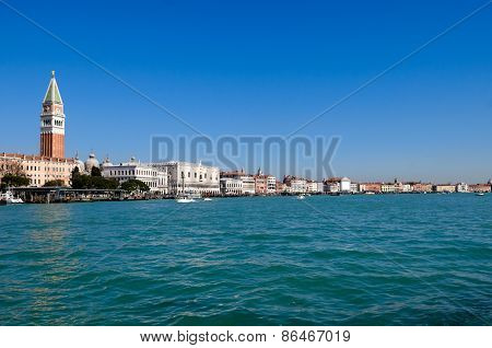 Venice Lagoon With Doge's Palace And Campanile On Piazza Di San Marco