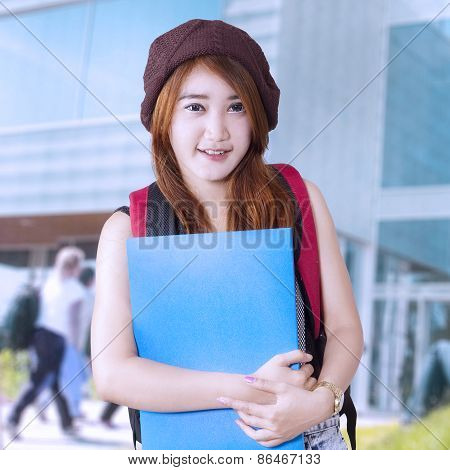 Teenager Girl Student At School