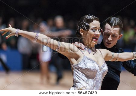 Minsk, Belarus-February 14,2015: Professional Dance Couple Of Korostashov Denys And Kostyleva Nataly