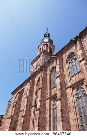 Wall And Spire Of Cathedral Of Holy Spirit In Heidelberg