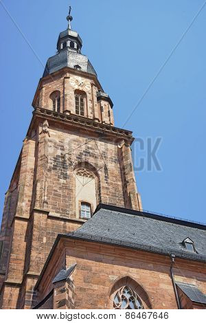 Wall Fragment And Spire Of Cathedral Of Holy Spirit In Heidelberg
