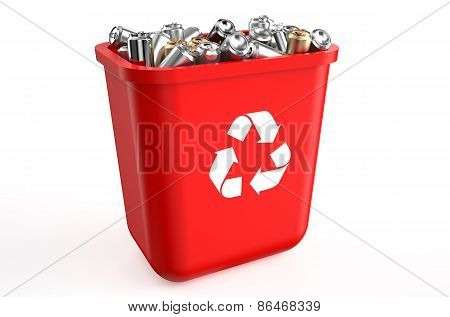 Recycling Container With Metallic Cans