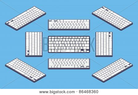 Isometric generic black computer keyboard with white blank keys