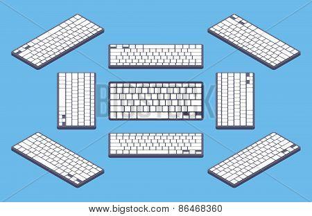 Isometric generic black computer keyboard with white blank keys