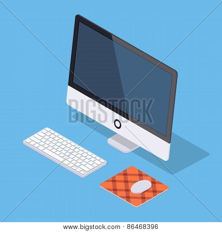 Isometric monoblock computer with white keyboard and computer mouse on the rug against the blue back