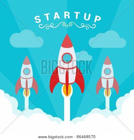 Startup illustration. The rockets takes off against the blue sky and clouds of white smoke